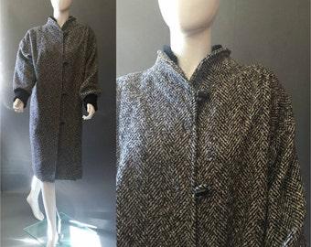 80'S Vintage Black TWEED Winter Slouchy Jacket Coat M/L