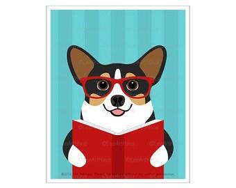 426D Funny Dog Art Prints - Tricolor Corgi Dog Reading Book Wall Art - Pembroke Welsh Corgi Portrait - Book Lover Gifts - Pet Drawing