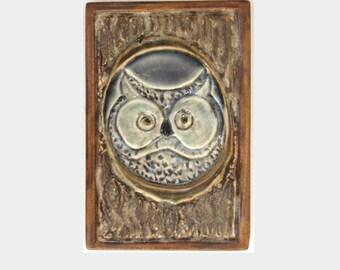 Tree Owl Arts and Crafts MUD Pi Decorative Handmade 4x6 Ceramic Tile