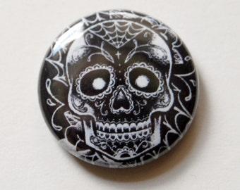 1 inch Pin Back Button - Black and White Sugar Skull Day of the Dead Tattoo Flash Design