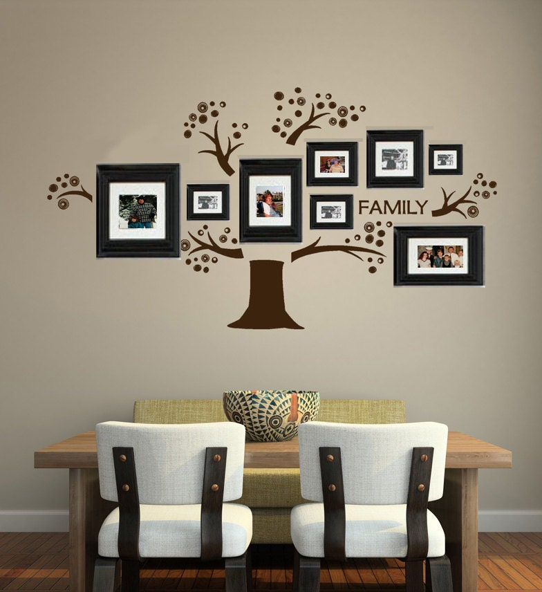Tree vinyl wall decal photo display familia art tree decals - Photo decoration on wall ...