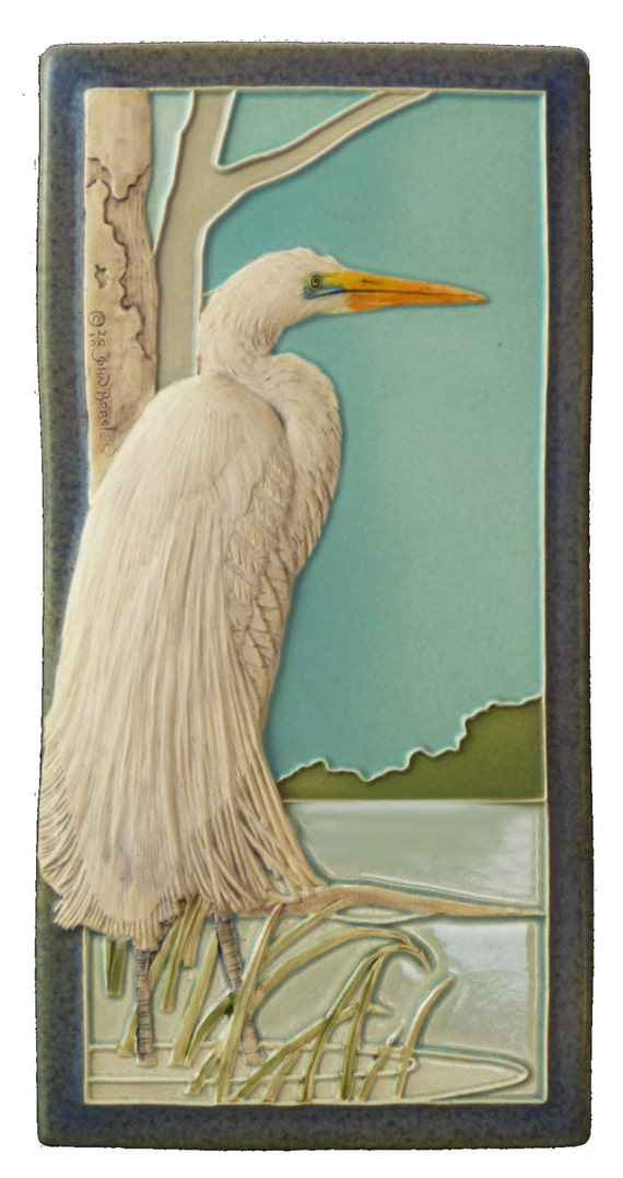 Illustrated Ceramic Art Tiles Add a Modern Flair to the ...  Arts Craft Tile Egret