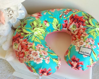 Love Bliss Bouquet Teal and Coral Nursing Pillow Cover