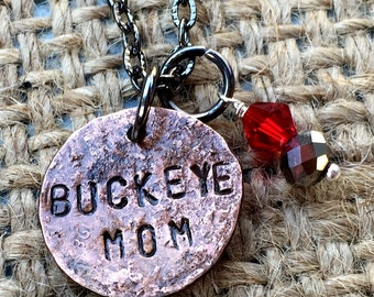 Buckeye Penny Necklace, Ohio Jewelry, OSU College Jewelry, Ohio State Necklace, Buckeye Jewelry, Gift Idea for OSU Mom, OSU Jewelry