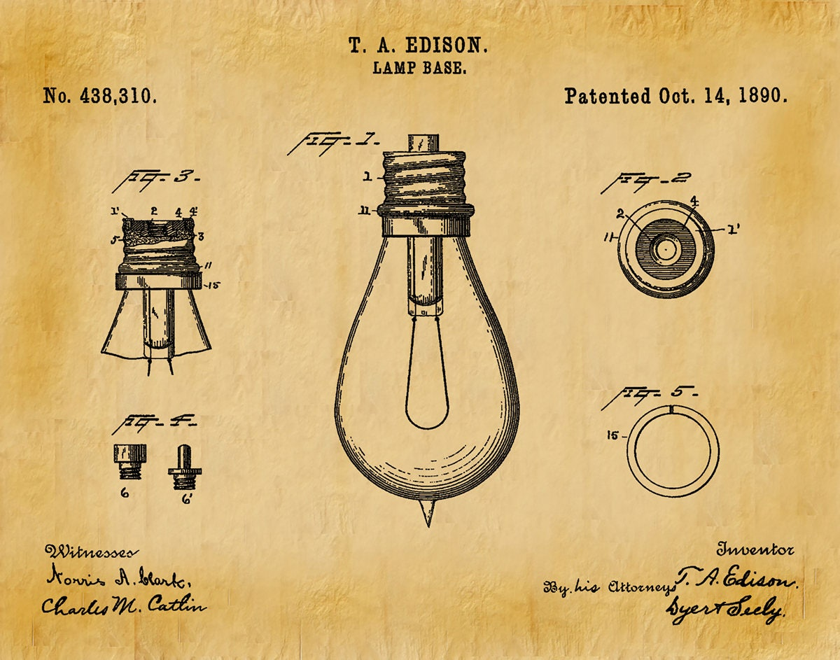 1890 Edison Light Bulb Patent Print - Vers #2 - Wall Art - Thomas ...