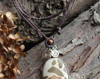 Beautiful Leopardite Gemstone Pendant / Macrame necklace