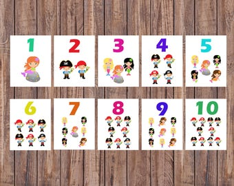 Flash Cards, Pirates, Mermaids, Number Cards, Learning Toys, Educational Toy, Printable Cards, Nursery, Instant Download, Printable Download