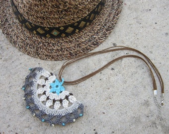 """Ethnic boho necklace, crochet, mid-length, beads, 3 cord strands, adjustable clasp, """"tribal"""""""