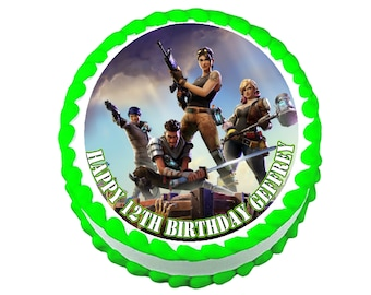 Fortnite round party decoration edible cake image cake topper frosting sheet
