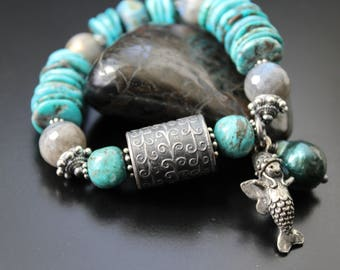 Anne Choi ruffled waves bead bracelet, mersprite and freshwater pearl charm bracelet, turquoise and labradorite stretch boho OOAK bracelet