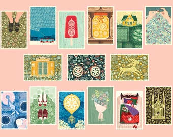 Postcards Set - Floral, Hipster, Nature, Lithuania inspired stationery set – A6. Postcrossing, snail mail, pen pal, post it, thank you cards