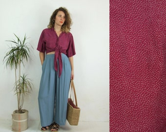 80's vintage women's bordo spotted top shirt