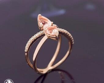 Morganite Ring, Two Tear Drop Morganite Ring, Minimal Style Ring With Morganite, Dainty Morganite Ring, Blushing Rose Collection  | LDR02631