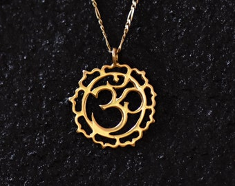 18k gold Om, Om charm, Om necklace, solid gold Om pendant, yoga gifts, yoga jewelry, spiritual gifts, Ohm necklace gold, Buddhist jewelry.