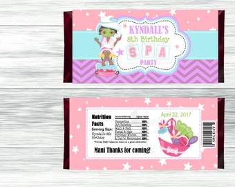Spa Party Candy Bar Wrappers, Birthday Candy Wrappers