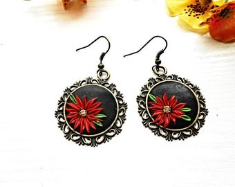 Filigree Red Flower Antique Bronze Chandelier Pendant Dangle Earrings Black Polymer Clay Floral Round Charm Boho Vintage Bohemian Jewelry