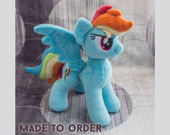 Rainbow - Custom Plush Pony - Stuffed Animal - Made to Order
