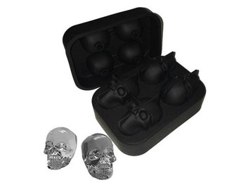 Skull Whiskey Ice Cube Ball Maker Mold Sphere Mould Party Tray Round Bar Silicone