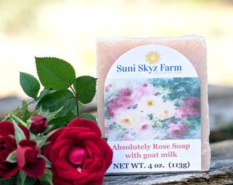 Absolutely Rose Soap with goat milk - Rose Soap - Rose Absolute Soap - Goat Milk Soap - Handmade Rose Soap - Natural Rose Soap