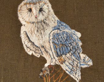 Hand Embroidered Snowy Owl