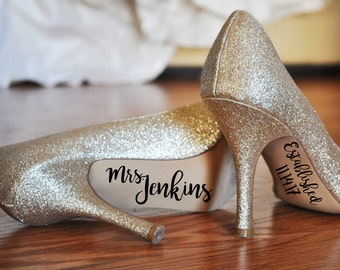 Wedding Shoes Decal, Personalized Wedding Shoes Sticker, Wedding Decal, Wedding Sticker, Bride Shoes Decal, Mrs. Established, Something Blue