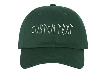 Custom Dad Hat Embroidered, DRIZZY FONT, Champagne Papi, Your text Here Personalized Custom Baseball Cap, Choose Your Text, Hunter Green