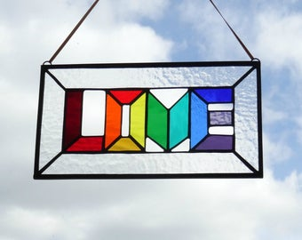 Love rainbow stained glass window panel, fused glass art, colourful handmade lightcatcher, Valentine gift for her, wedding anniversary gift