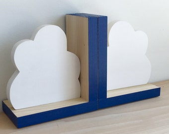 Cloud Bookends, Navy Blue, Cloud Decor,  Cloud Nursery, Wooden Cloud, Cloud, Children's Bookends, Cloud Baby, Kids Cloud Decor, Eco-friendly