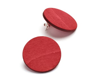 Korona birch wood stud earrings with black, red, petrol blue and natural wood colour options