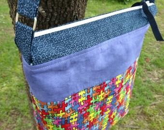 Puzzle Print Handbag-Autism Awareness Shoulder Bag-Teacher Special Needs Crossbody Purse-Spectrum Tote-Purple-Blue-Primary Multicolored