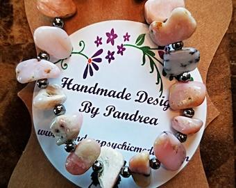 Handmade Pink Opal Stone Bracelet