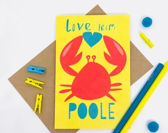Love from Poole - Poole Card - Poole harbour - Dorset - Crab illustration