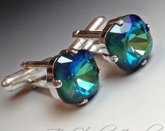 Peacock Cushion Cut Crystal Cufflinks