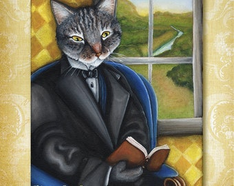Literary Cat Reading Book by Window 8x10 Art Print CLEARANCE