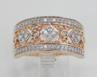 Diamond Cluster Wedding Ring Anniversary Band Rose Pink Gold Size 7.25