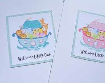Welcome Baby Boy Cards - Welcome Baby Girl Cards - Baby Boy Shower - Baby Girl Shower - Noah's Ark Cards - Baby Animal Cards - nac1