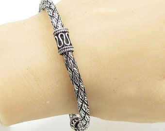 925 sterling silver - thick woven balinese style bangle bracelet b1091