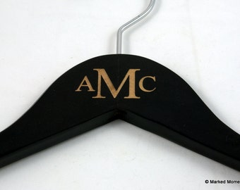 Custom Monogrammed Hanger - Engraved Wood Hanger personalized with your initials