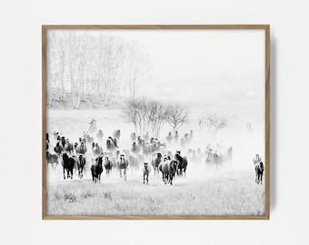 cowboy print, western print, western art, cowboy art, country western decor, cowboy decor, radio print, southwest print, southwest art, BW