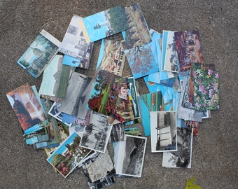 Vintage Post Cards Instant Collection 100 Travel Souvenirs Large Lot Collectibles United States Altered Art Mixed Media Photography