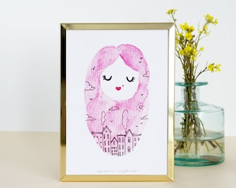"Watercolor print ""Imagine life"" Illustration esencia custome"