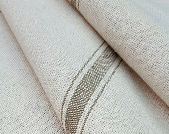 """Grain Sack Fabric By The Yard - Farmhouse Fabric - Ticking Fabric - Tan 3 Stripe - 54"""" Wide - Upholstery Weight - CONTINUOUS CUT"""