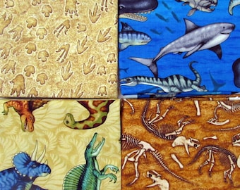 Jurassic Jungle Dinosaurs  Fabric 4 Fat Quarter Bundle From Quilting Treasures 558