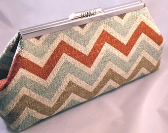 Burlap Chevron Canyon Clutch