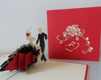 Flamenco Ballroom Dancers Pop up Card Birthday - Anniversary- Love-Retirement-  Blank (sku 009)