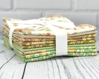 Hazel & Plum Seafoam Half Yard Bundle - Moda Fabric - Fig Tree Quilts - Hazel and Plum Fabric - Moda Bundle - 9 pieces