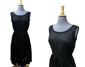 "Little Black Dress Vintage 1950s Size Small to Medium Bust 36"" Waist 28"" Iridescent Voile Sleeveless Voile LBD"