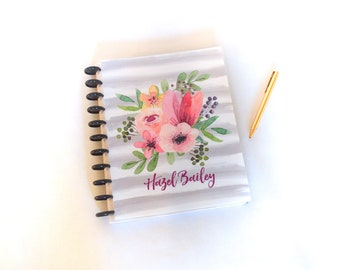 Custom Planner - Watercolor Flowers Cover, Personalized, Disc Bound Agenda