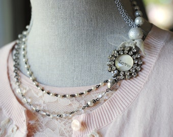 LOVE Rhinestone glass soldered double strand OOAK necklace