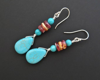 Turquoise earrings silver and spiny oyster blue howlite turquoise tear drop beads 4mm round purple spiny oyster heishi beads long dangling